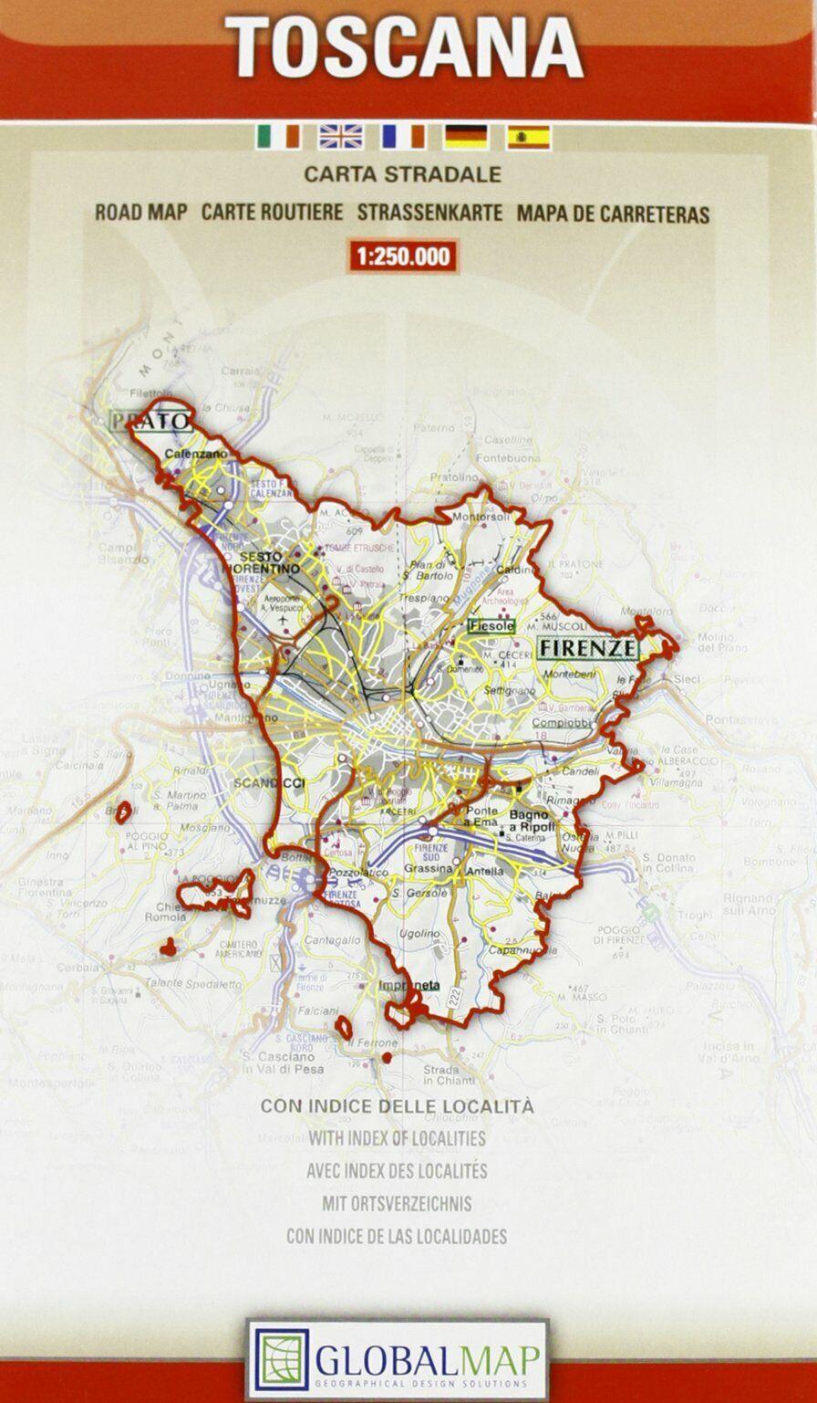 Cartina Giografica Toscana.Toscana Cartina Stradale Regionale Scala 1 250 000 Mappa Carta Global Map Ebay