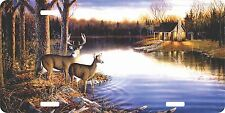 Deer Lake Forest Cabin Hunting Hunter Field License Plate Car Truck Tag
