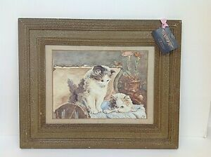 Signed and framed watercolour of Kittens Charming original 20th century picture