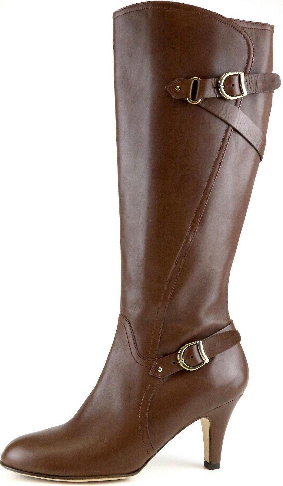 ANYI LU Woman's Brown Leather Dress Boots 9736* Size 37.5 EUR