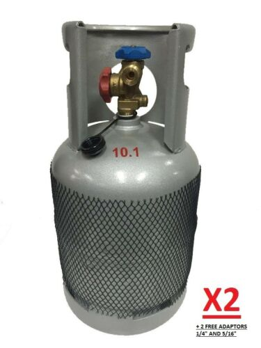 2 X EMPTY RECLAIM RECOVERY CYLINDER BOTTLE GAS TANK + 1/4 & 5/16 ADAPTORS