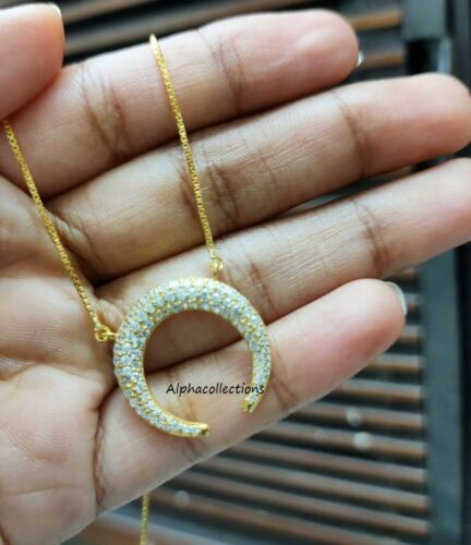 """1.00 Ct Round Cut Diamond 14k Yellow Gold Over Moon Pendant Necklace 18/"""" Chain"""