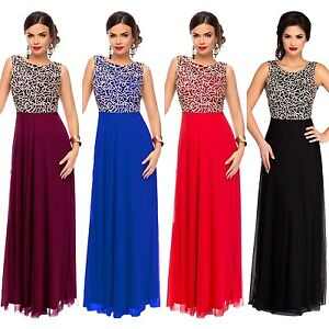 Abendkleid-Ball-Party-Brautjungfern-Abiball-A-Linie-Damen-Kleid-Tuell-Spitze-lang