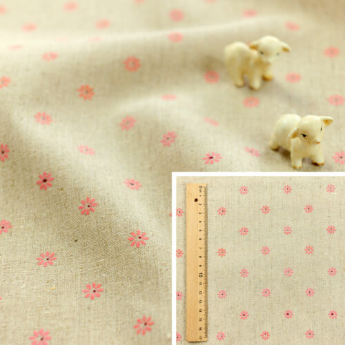 FQ Fat Quarter//MeterHessian Natural Linen Fabric Craft Sew Pink Daisy Flowers