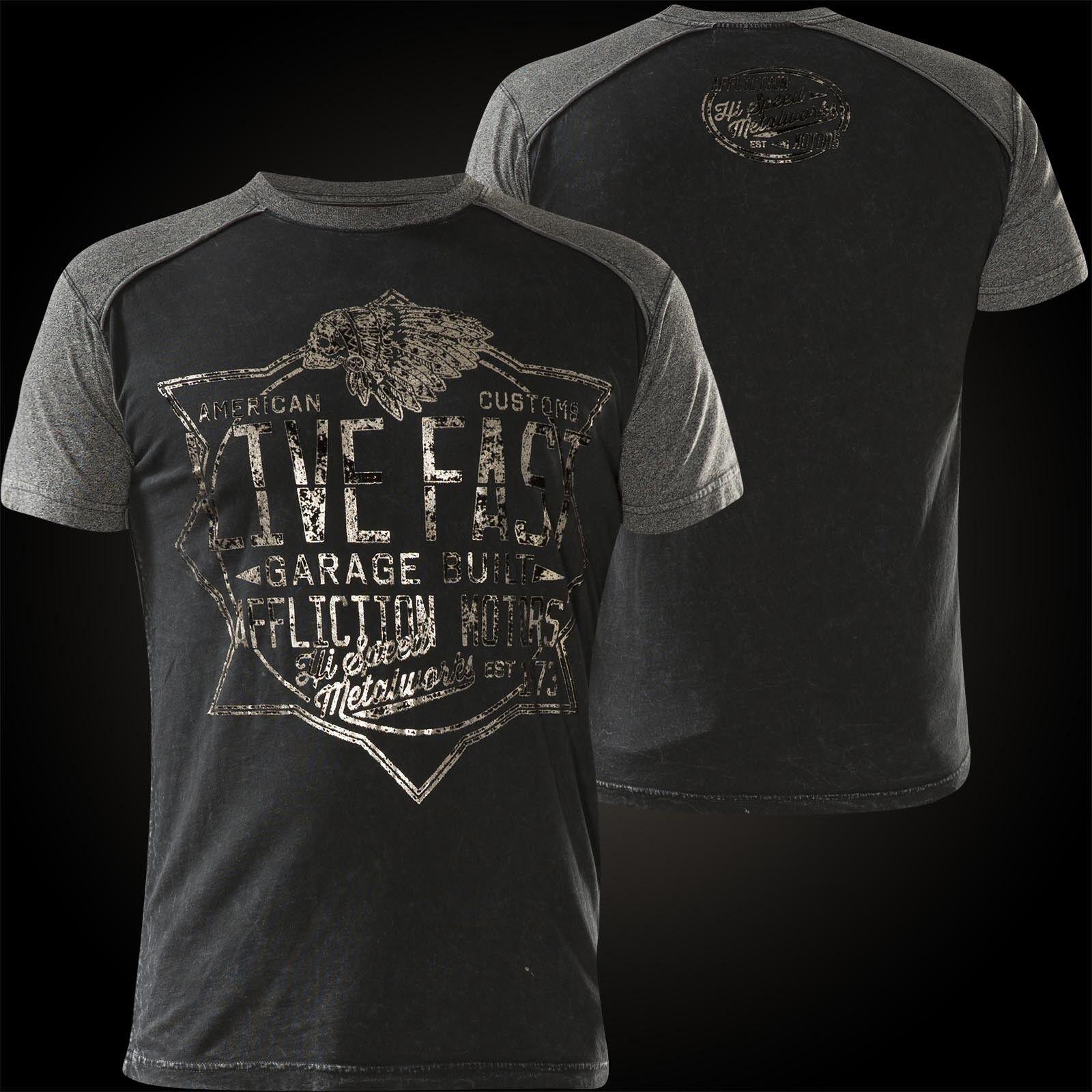 Affliction T-SHIRT SPEED Metalworks Nero Grigio T-shirts