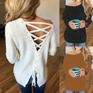 UK-Womens-Knitted-Bundle-Jumper-Blouse-Long-Sleeve-Base-Backless-Ladies-Tops