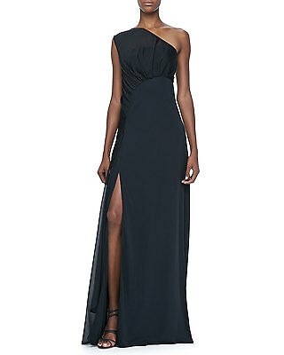 Halston Heritage One Shoulder Grecian Formal Full Length High Slit Dress Gown 2