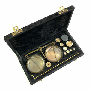 Weight 100 Grams Antique Brass Vintage Jewellery Balance Scale With Velvet Box