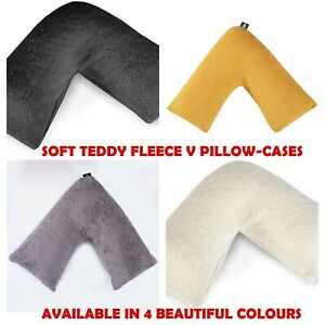 Teddy Bear V Shaped Pillow Cushion Case Warm Soft Cosy Back Neck Support Cases