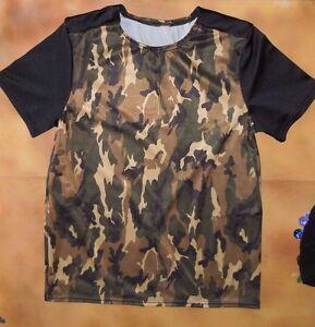 NWT Short Sleeve Dance Shirt Black w// Camoflauge Sleeves Boys// Men Spandex