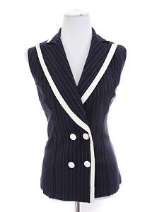 Joseph-Ribkoff-Womens-Nautical-Sailor-Vest-Blazer-Jacket-Navy-Blue-Sz-8-Medium