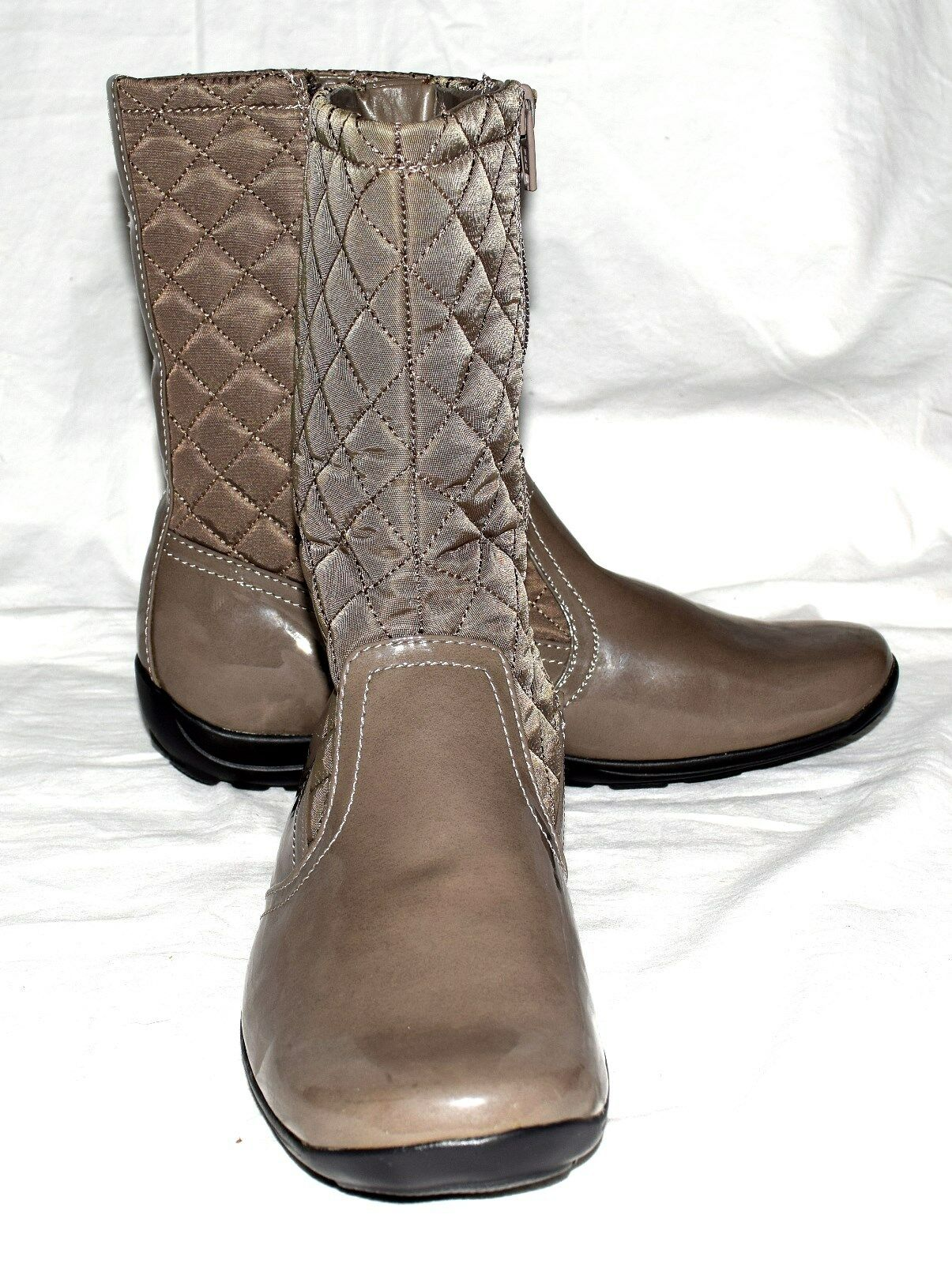 Naturalizer FINN Taupe Faux Patent Leather & Quilted Fabric Boots Size 6M NWOB