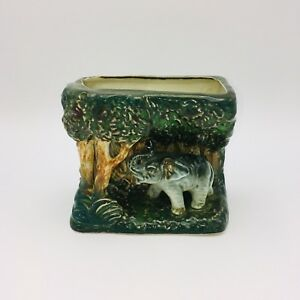 Vintage-Elephant-and-Jungle-Flower-Ceramic-Vase-Container-Hand-Painted-in-Japan