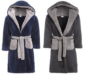 Boys Fleece Dressing Gown Hooded Luxury Snuggle Navy Blue Grey Winter 7-13 Years