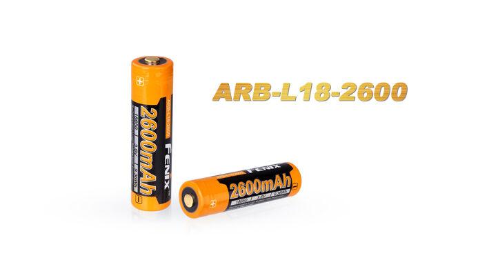FENIX - 4x Batteria 2600 2600 2600 mAh Ricaricabile ARB-L18 Litio Li-Ion 18650 Originale 549101