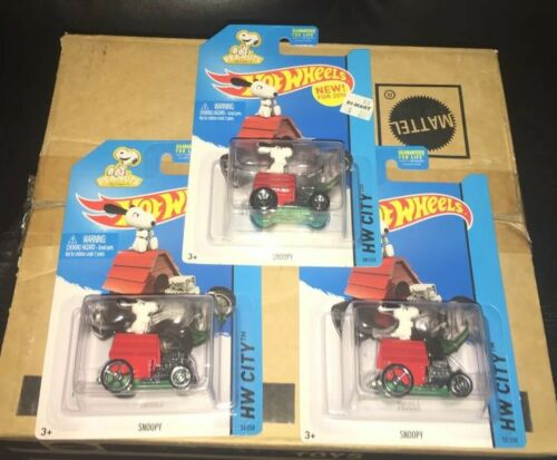 HOT WHEELS HW CITY 2014 PEANUTS SNOOPY HOUSE CAR LOT OF 3 CHARLIE BROWN