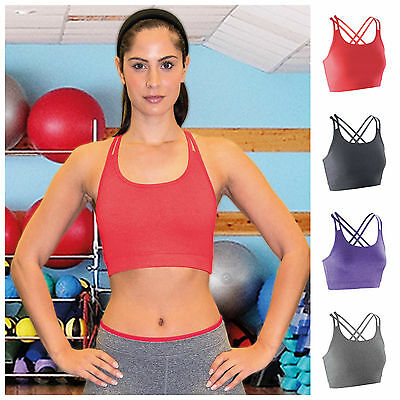 Womens Yoga Sports Running Bra Crop Top Vest Stretch Gym Fitness Wireless Bra