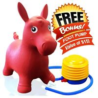 Kids Red Horse Hopper, Inflatable Jumping Ride-on Bouncy Bouncer + Foot Pump