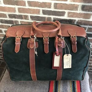 VERY-RARE-VINTAGE-1990s-DANIEL-amp-BOB-ITALY-LARGE-LEATHER-SUEDE-DUFFEL-BAG-R-2298