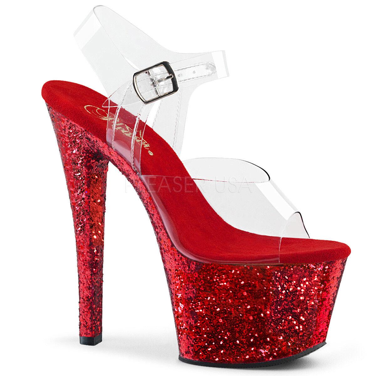 Pleaser SKY-308LG damen Clear rot Glitter High Heel Platform Ankle Ankle Ankle Strap Sandal b9d042