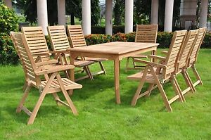 9 PC TEAK FOLDING GARDEN OUTDOOR PATIO FURNITURE ASHLEY RECLINE (83 RECT TABLE)