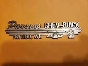 Parsons Of Antigo >> Details About Parsons Chevrolet Buick Antigo Wi Metal Dealer Emblem Car Vintage Sm310