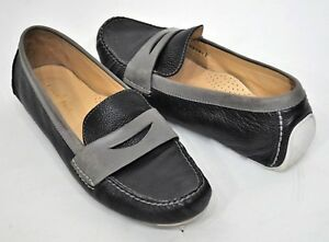 45095278440 Womens Cole Haan Moccasin Driving Loafers Flats Black Gray 9B White ...