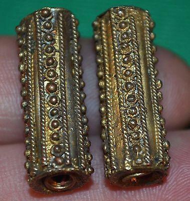 Antique Yoruba Handmade Gilded Brass Cylinder Metal Beads, Nigeria, Africa