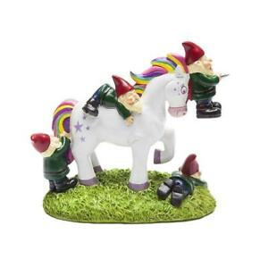 Bigmouth Unicorn Attack Garden Gnome Statue Novelty Funny Lawn Ornament Gift New