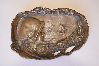 Metallobjekte holländerin, Fischmotiv, Sonnenaufgang Honest Visitenkarten-schale Jugendstil Bronze