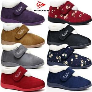 Ladies-Dunlop-Slippers-Diabetic-Wide-Fit-Winter-Warm-Fur-Ankle-Boots-Shoes-Siz