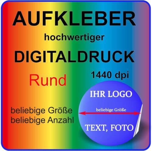 5 Aufkleber Small RUND mit Ihrem Logo Bild Motiv GLANZ Ablösbar Klebefolie