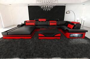 Ledersofa Exklusive Wohnlandschaft Mezzo U Recamiere Designer Couch