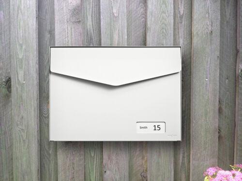 113 Reinweiß Namenschild RAL 9010 Wandbriefkasten … MEFA Briefkasten Letter