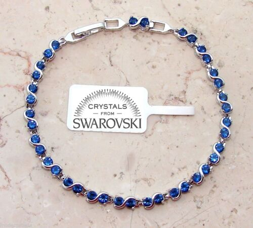 Bracciale Tennis Cristalli originali SW88 donna infinity col argento blu