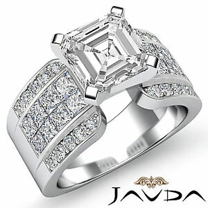 Asscher-Diamante-Invisible-Set-Anillo-de-Compromiso-GIA-H-VS2-14k-Oro-Blanco