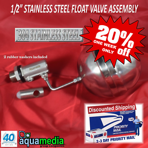 """STAINLESS STEEL FLOAT LEVEL CONTROL VALVE 1/2"""" NPT SHUT OFF ASSEMBLY"""