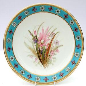 Antique-c1889-Royal-Worcester-Cabinet-Plate-Hand-Painted-Floral-Botanical