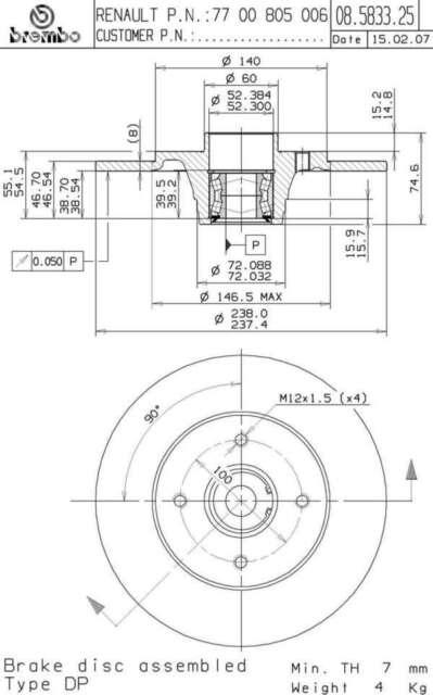 2 disques de frein AR 08.5833.25 BREMBO RENAULT CLIO I 1 1.8 Rsi 107ch