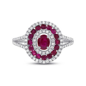 14K-White-Gold-Ruby-Diamond-Oval-Ring-Cocktail-Womens-1-35-TCW-Gemstone-Natural
