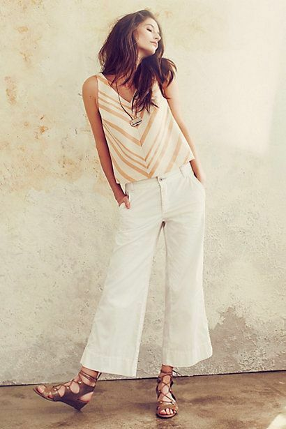 Anthropologie   Hei Hei White Crop Wide Leg Pants Women's US Size 28 MSRP  118