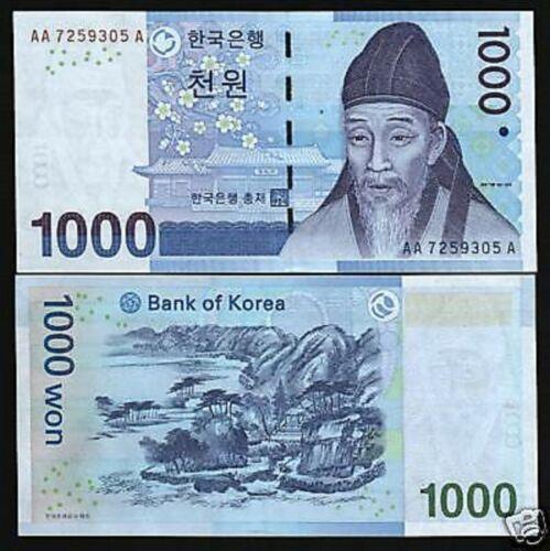 KOREA SOUTH 1000 1,000 WON P54 2007 *AAA* YI HWANG MOUNTAIN UNC MONEY BANK NOTE