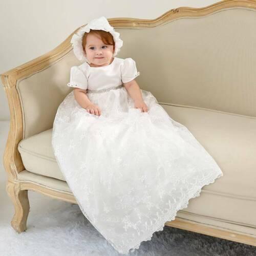 Bonnet Baby Girls Christening Gown Infant Lace Baptism Full Dress