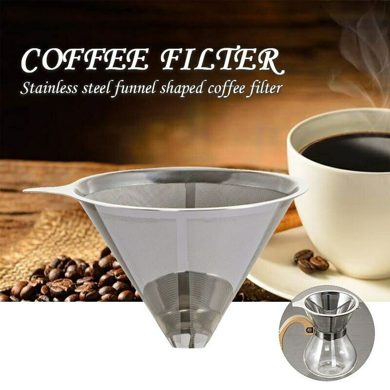 Coffee Filter Cup Stainless Steel Holder Metal Mesh Funnel Reusable