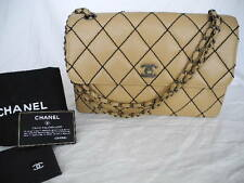 "Auth CHANEL Beige Lamb Skin 10.62"" SINGLE FLAP Double Chain Shoulder Bag"