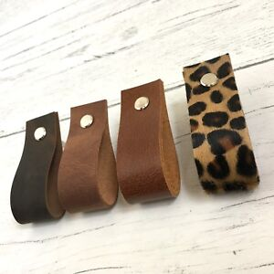 Image Is Loading Genuine Leather Minimalist Drawer Pull Door Handles Cabinet