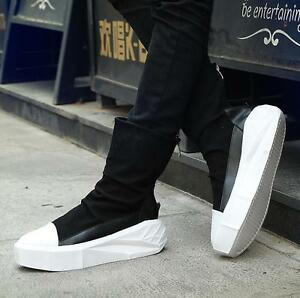 new product c38a0 842fa Image is loading Mens-Platform-Casual-Shoes-Punk-Boots-High-Top-