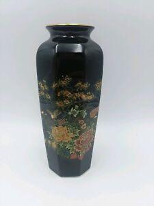 Vintage-Black-Japanese-Vase-flowers-style-made-in-Japan