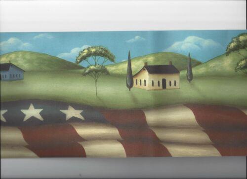 PATRIOTIC AMERICANA PRIMITIVE WALLPAPER BORDER FLAG FOLK ART bordeR NEW ARRIVAL