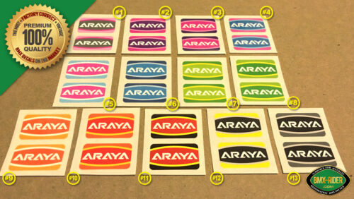 Araya /'CUSTOM COLOR/' Rim // Wheel BMX Decal Stickers 7C - Araya 7x 1 PAIR NEW